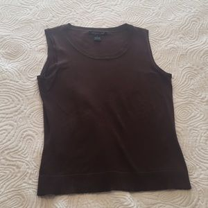 August Silk brown tank wardrobe staple like new